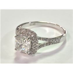 ONE 14KT WHITE GOLD LADIES DIAMOND ENGAGEMENT RING, SET WITH ONE 1.01 CT MODIFIED BRILLIANT CUT