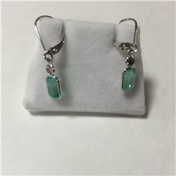 ONE PAIR OF 14KT WHITE GOLD DANGLING NATURAL EMERALD AND DIAMOND SET EARRINGS WITH A TOTAL OF 2