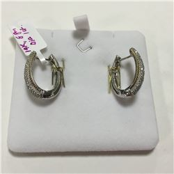 ONE PAIR OF 14KT WHITE GOLD AND YELLOW GOLD DIAMOND PAVE SET HOOP STYLE EARRINGS WITH A TOTAL OF