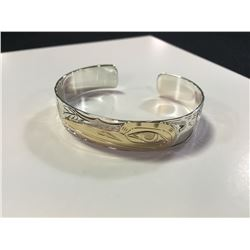 "ONE HAND MADE 14K YELLOW GOLD AND STERLING SILVER FIRST NATIONS 1/2"" BANGLE STYLE BRACELET. HAND"