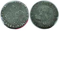 France 1588A Silver Franc from Paris, featuring Henri III.