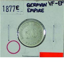 Germany; 1877E German Empire 50 Pfennig in VF-EF condition.