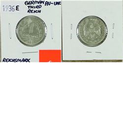 Germany; 1936E 1 Reichsmark from the Third Reich. Coin is in AU-UNC condition.