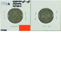 Germany; 1954G 1 Mark from the Federal Republic. Coin is in VF-EF condition. *Key Date*