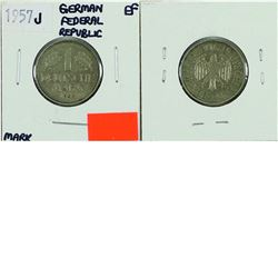 Germany; 1957J 1 Mark from the Federal Republic, coin is in Extra Fine condition.