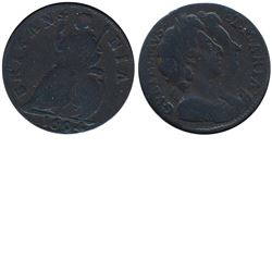 Great Britain, 1694 Farthing in VG-F condition. Featuring the double portrait of William and Marie.