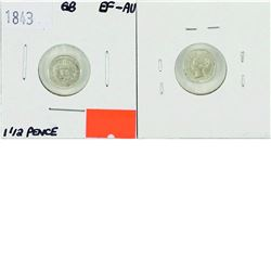 Great Britain; 1843 1 1/2 Pence in EF-AU condition.