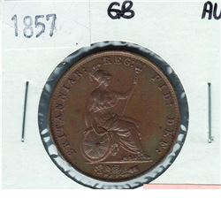 Great Britain; 1857 Half Penny in AU condition. A lustrous light brown coin with hints of olive gree