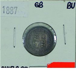Great Britain; 1887 6 Pence, Shield Reverse in Brilliant Uncirculated condition. Beautifully toned w