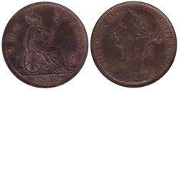 Great Britain; 1887 One Penny in AU-UNC condition. Nice even toning with plenty of mint luster.