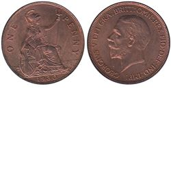 Great Britain; 1930 One Penny in Brilliant Uncirculated condition. A nice natural Cherry Red coin.