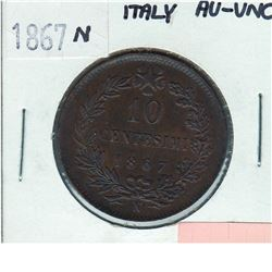 Italy; 1867N 10 Centesimi in AU-UNC condition. Lustrous chocolate brown coin.