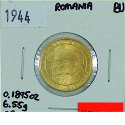 Romania 1944 Gold 20 Lei (0.1895 ounces, 6.55 g, .900 fine) Brilliant Uncirculated
