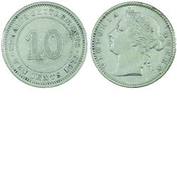Straits Settlements, 10-cent 1873 in EF-AU condition. A nice better date issue coin.