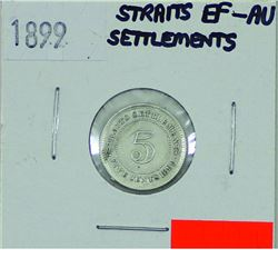 Straits Settlements, 5-cent 1899 in EF-AU condition.