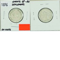 Straits Settlements, 20-cent 1896 in EF-AU condition.