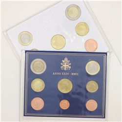 Vatican 2002 and 2003 8-coin sets. Original packaging