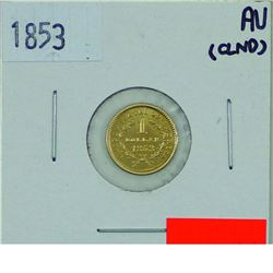 United States 1853 One Dollar Gold AU50 + (lightly cleaned)