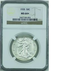 United States 1935 50-cent NGC certified MS-64+. A bright vibrant coin.