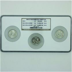 United States 3 x 2004-D Wisconsin 25c variety set NGC Certified MS-65.  You will receive the Regula