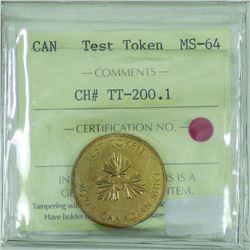 Test Token Canada CH# TT-200.1 ICCS MS64