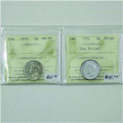 5-cent 1950 & 1951 Low Relief ICCS Certified MS64. 2pcs.