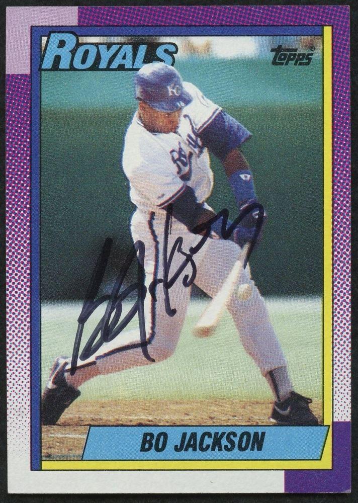 Bo Jackson Signed 1990 Topps 300 Baseball Card Jsa Coa