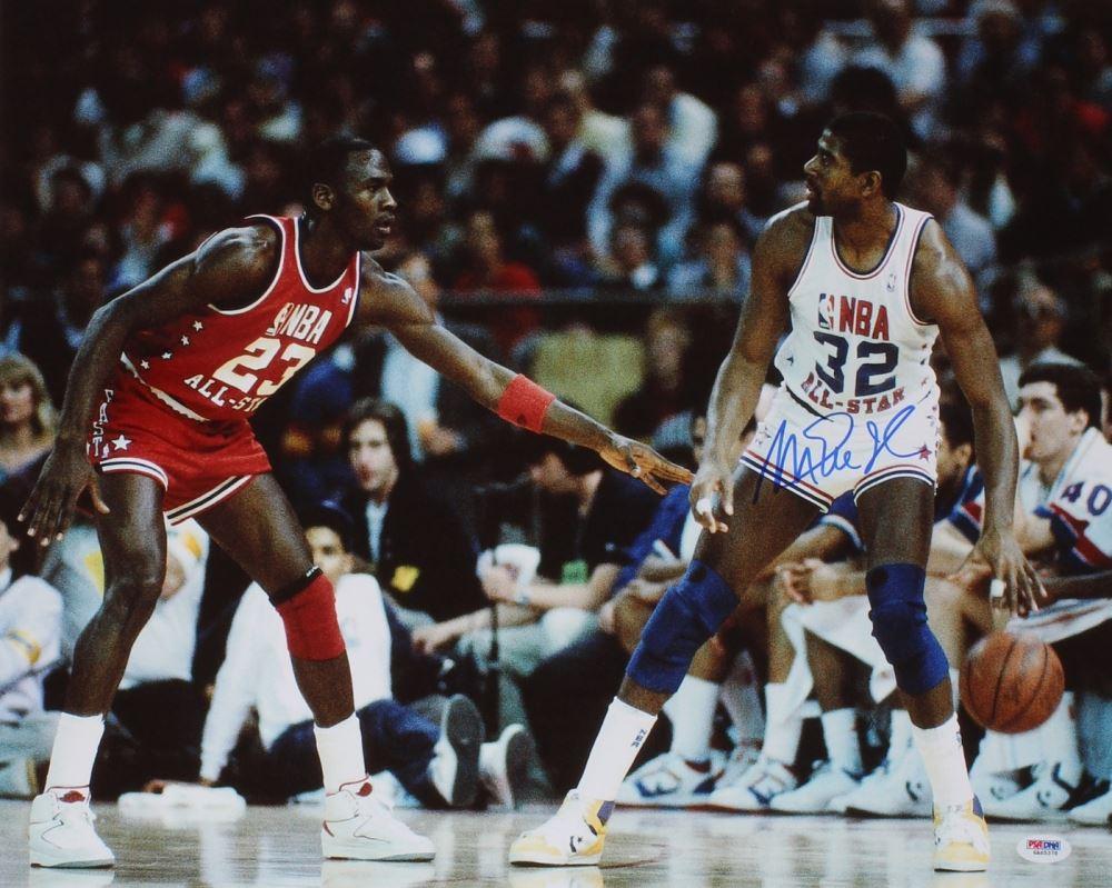 3e10f9ca5d6 Image 1 : Magic Johnson Signed NBA All-Star Game 16x20 Photo vs Michael  Jordan ...