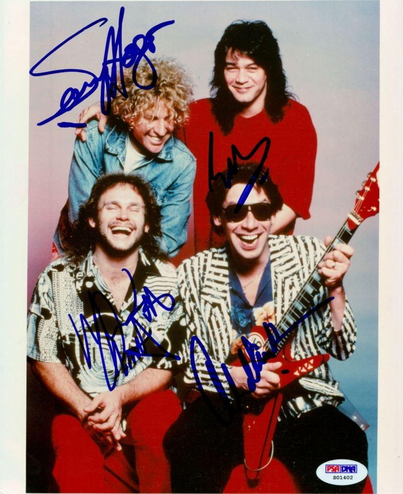 Van Halen Signed 8x10 Photo With 4 Signatures Including Sammy Hagar Eddie Van Halen Alex Van Hal