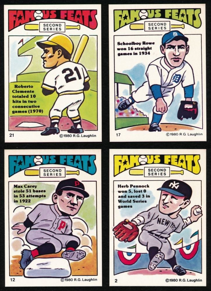 Lot Of 4 1980 Laughlin Famous Feats Baseball Cards With