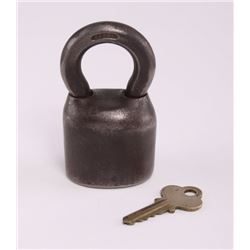 Antique black iron master lock with key. (Size: See