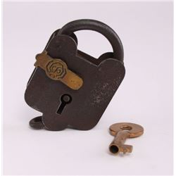 Antique lock with key.  (Size: See second photo for