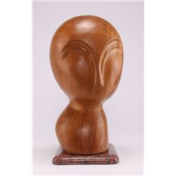 S. Terkiel, signed abstract oak wood scultpure, signed