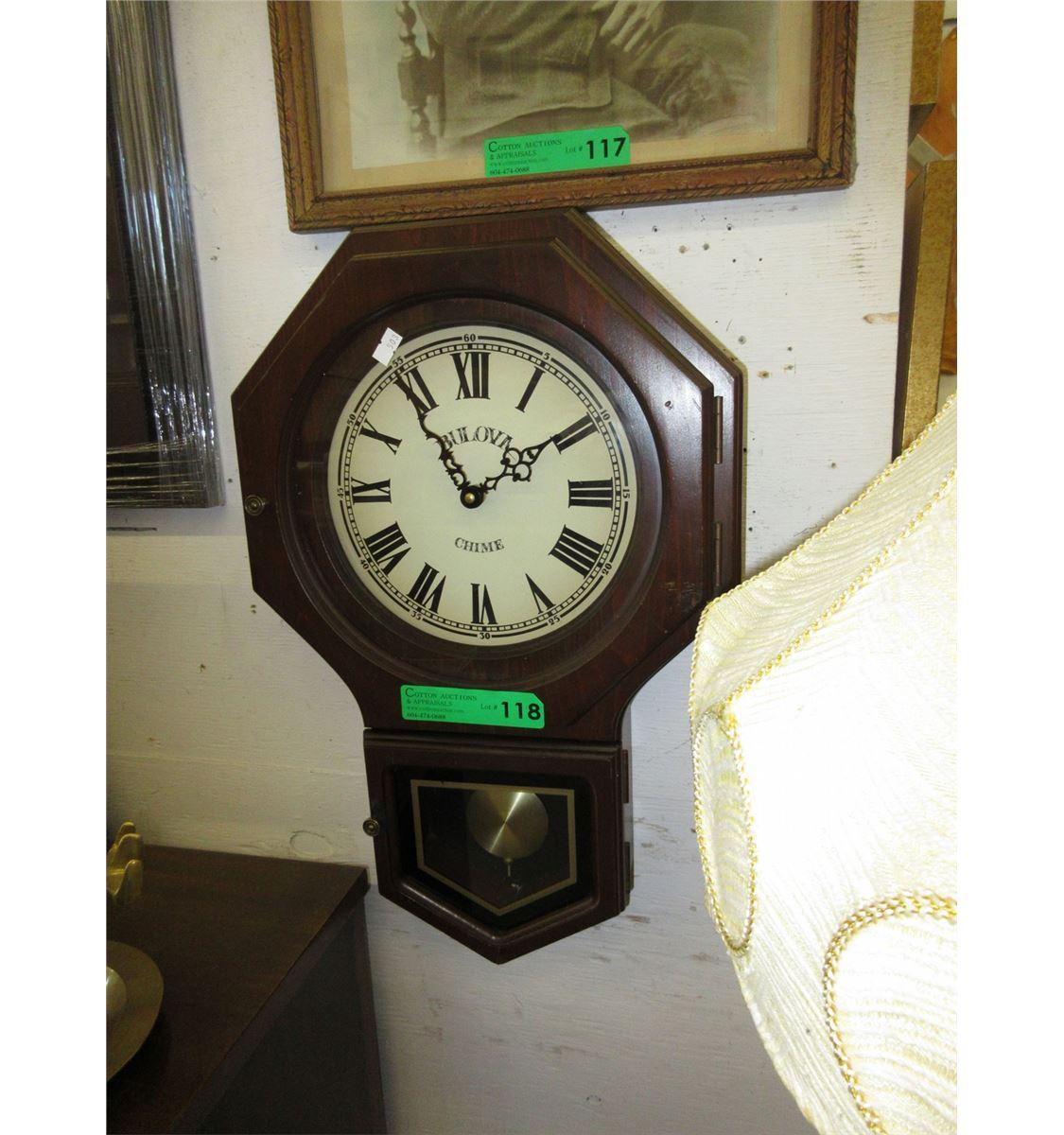 Used Bulova chime wall clock
