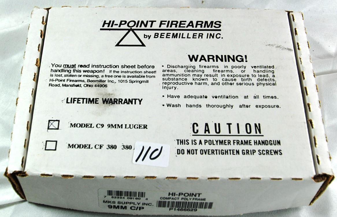 HI-POINT MODEL C9 9MM LUGER AUTO PISTOL IN BOX