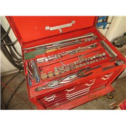 Red beach  tool chest full of tools