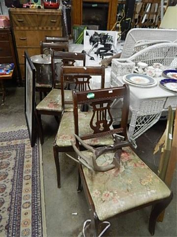 Magnificent Vintage Harp Back Dining Chairs 5 X Bid Ncnpc Chair Design For Home Ncnpcorg