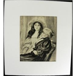 Renoir Engraving Madame Berthe and Daughter Print