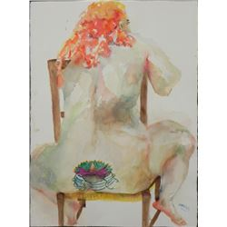 Betty Snyder Heredia Original Painting Nude w/Tattoo