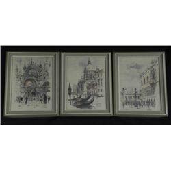 Set of 3 Visions of Venice Original Pencil Drawings