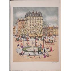 Claude Tabet Signed Artist Proof Print 19th Cent City