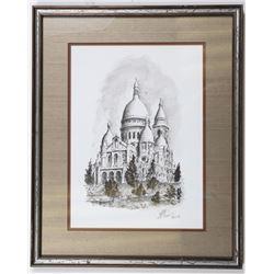 Ink Drawing of Sacré-Coeur Church in Paris by Rade