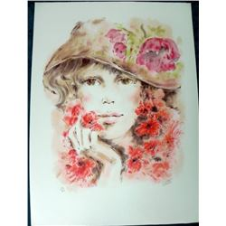 Colette Flower Hat Stone Lithoraph S/N Large