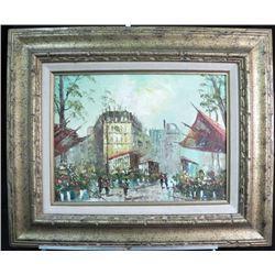 W. Eaton Art Oil on Board Signed Framed City Flowers