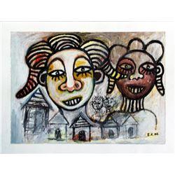 Ephrem Kouakou: Untitled XLII (2 Heads Over Village)
