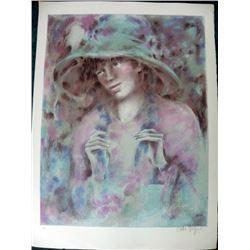 Colette Lithograph Large S/N Portrait Lady with a Hat