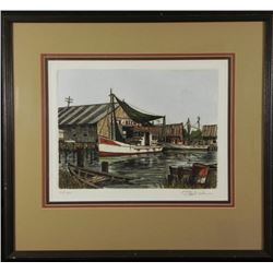 Artist Signed Art Print Boat at the Dock -Framed