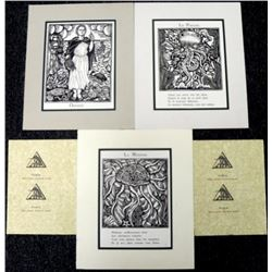 3) Raoul Dufy Woodcut Collection w/Poem Medusa, Octopus