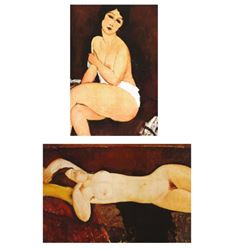 2 Modigliani Nude Prints Sitting on a Sofa, Reclining