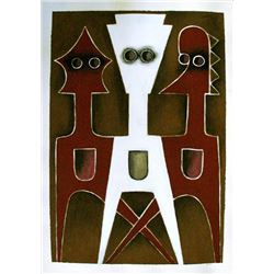 Ephrem Kouakou: Untitled XIV (White & 2 Red Figures)